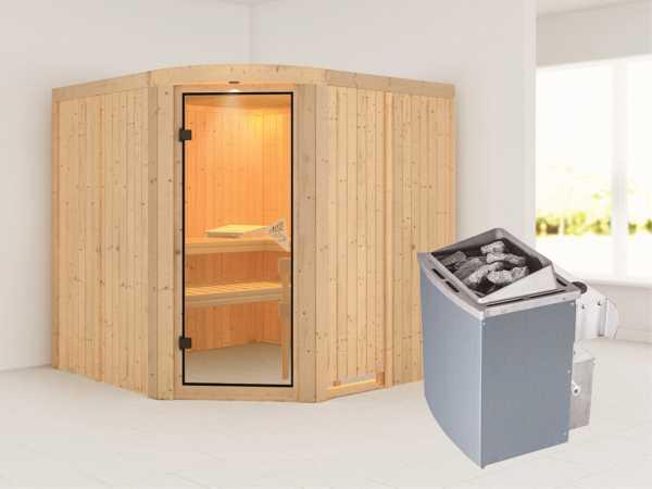 Sauna Systemsauna Aukura inkl. 9 kW Saunaofen integr. Steuerung