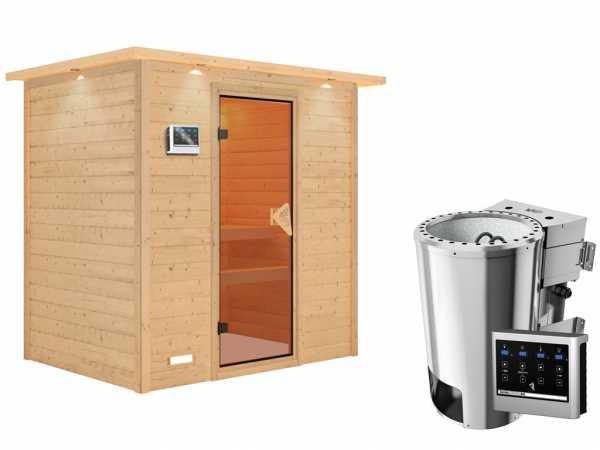 Sauna Massivholzsauna Ronja mit Dachkranz, inkl. Plug & Play Bio-Ofen externe Steuerung