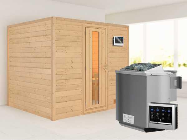 Sauna Massivholzsauna Karla Energiespartür + 9 kW Bio-Kombiofen mit ext. Strg