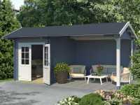 Gartenhaus Blockbohlenhaus Kenzo 34 mm taubenblau