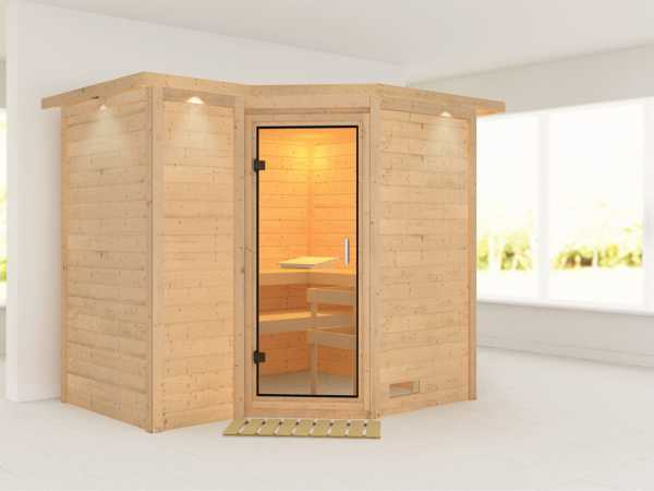 Sauna Massivholzsauna Sahib 2 mit Dachkranz, Klarglas Ganzglastür