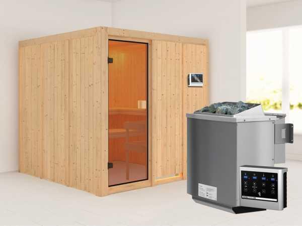 Sauna OULU mit bronzierter Glastür + 9 kW Bio-Kombiofen mit ext. Strg.