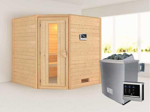 Sauna Massivholzsauna Nina Energiespartür + 9 kW Saunaofen mit ext. Strg