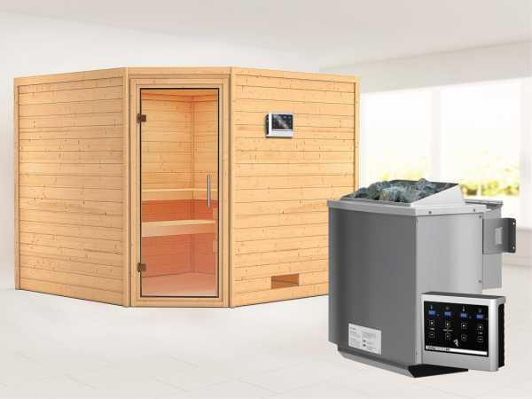 Sauna Massivholzsauna Leona Klarglas Ganzglastür + 9 kW Bio-Kombiofen mit ext. Strg