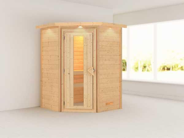 Sauna Massivholzsauna Franka mit Dachkranz, Holztür mit Isolierglas