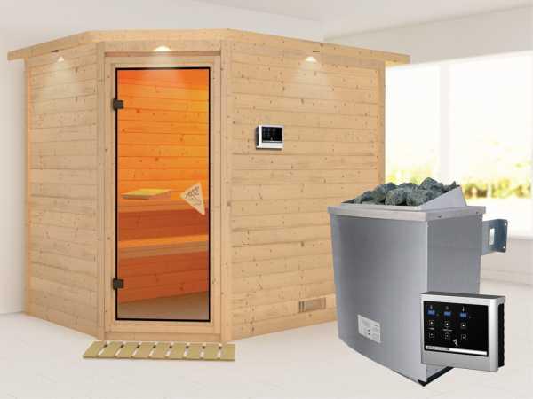 Sauna Massivholzsauna Tanami mit Dachkranz, inkl. 9 kW Saunaofen ext. Steuerung