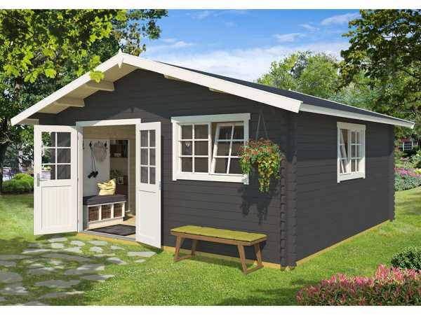 Gartenhaus Blockbohlenhaus Gotland 7F 40 mm carbongrau