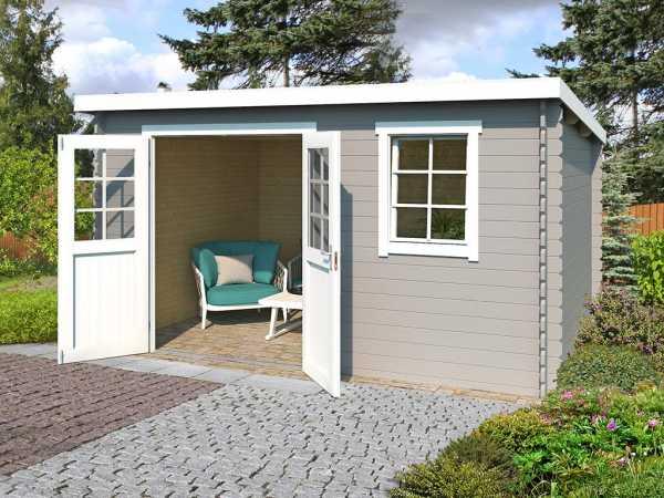 Gartenhaus Blockbohlenhaus Amira 275 28 mm lichtgrau