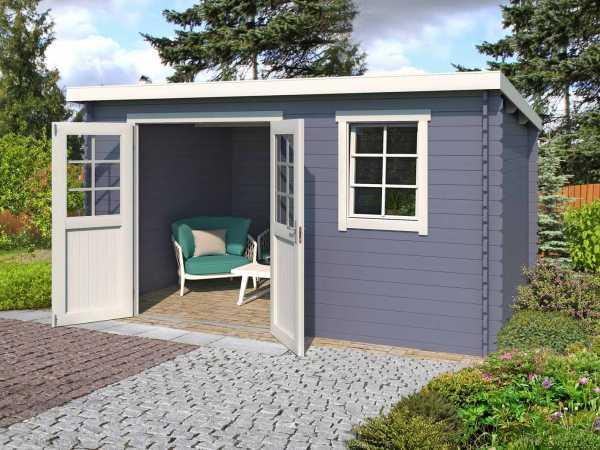 Gartenhaus Blockbohlenhaus Amira 275 28 mm taubenblau