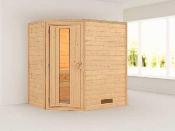 Sauna Massivholzsauna Svea Holztür mit Isolierglas