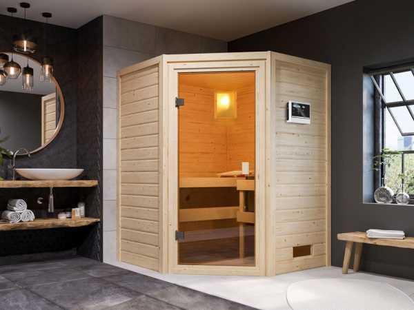 """Sauna """"Antonia"""" mit bronzierter Glastür + 9 kW Saunaofen ext. Strg."""
