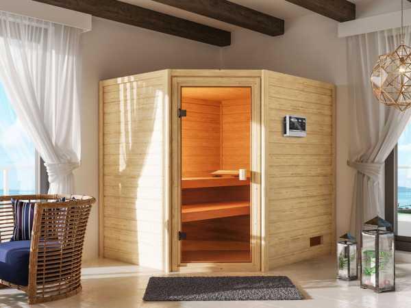 """Sauna """"Elea"""" mit bronzierter Glastür + 9 kW Bio-Kombiofen ext. Strg."""