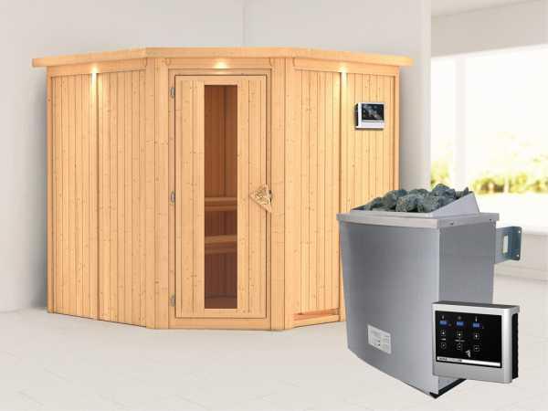 Systemsauna Jarin mit Dachkranz, Holztür mit Isolierglas, inkl. 9 kW Saunaofen ext. Steuerung