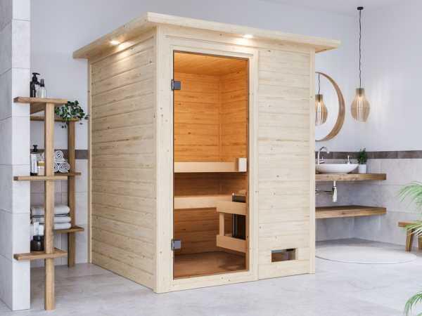 """Sauna """"Sandra"""" mit bronzierter Glastür und Dachkranz"""