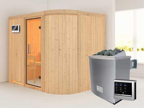 Sauna Systemsauna Titania 4 Klarglas Ganzglastür + 9 kW Saunaofen mit ext.Strg