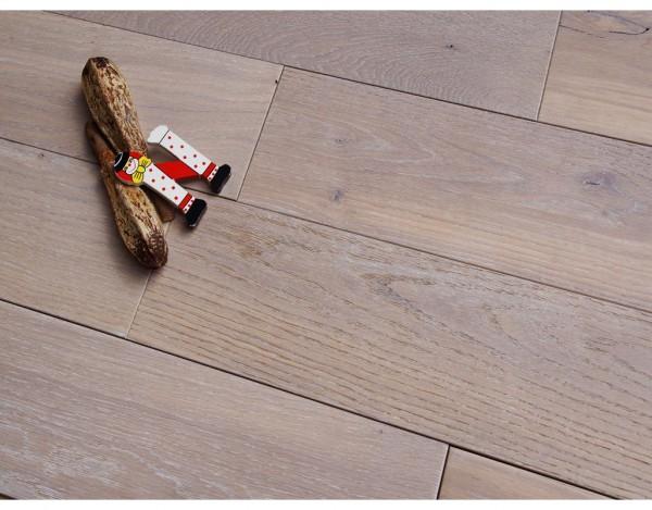 Massivholzdiele Eiche Rustikal gebürstet weiß geölt   437803