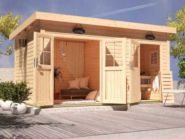 Saunahaus Niska mit Holztür & Vorraum, inkl. 9 kW Saunaofen mit integrierter Steuerung