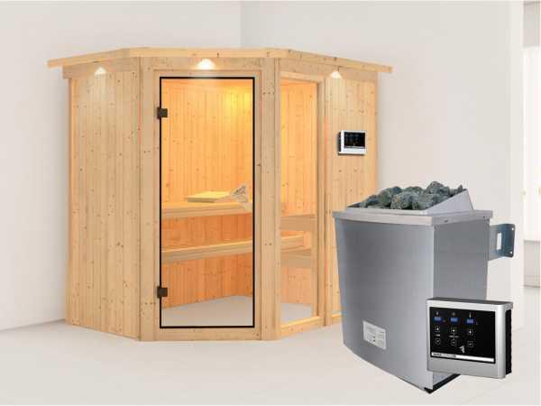Sauna Systemsauna Fiona 1 mit Dachkranz, inkl. 9 kW Saunaofen ext. Steuerung