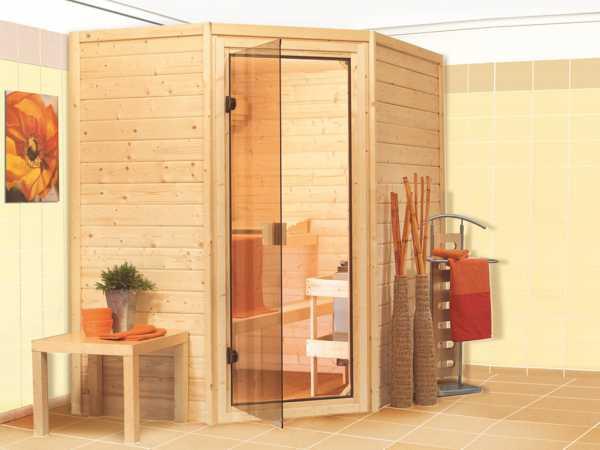 Sauna Massivholzsauna Svea bronzierte Ganzglastür
