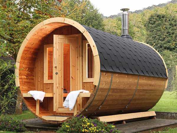 """Saunafass """"400 de luxe"""" 42 mm naturbelassen, als Bausatz, inkl. Dachschindeln schwarz"""