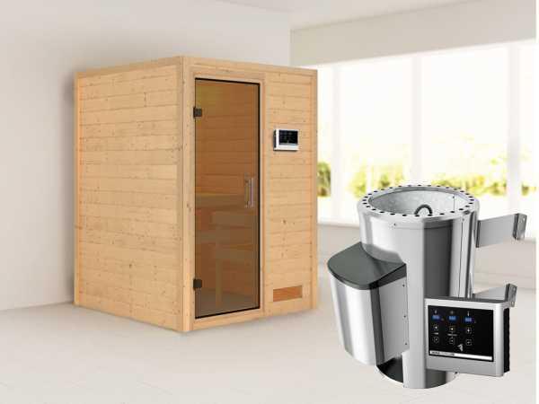 Sauna Massivholzsauna Nadja graphit Ganzglastür + Plug & Play Saunaofen mit externer Steuerung