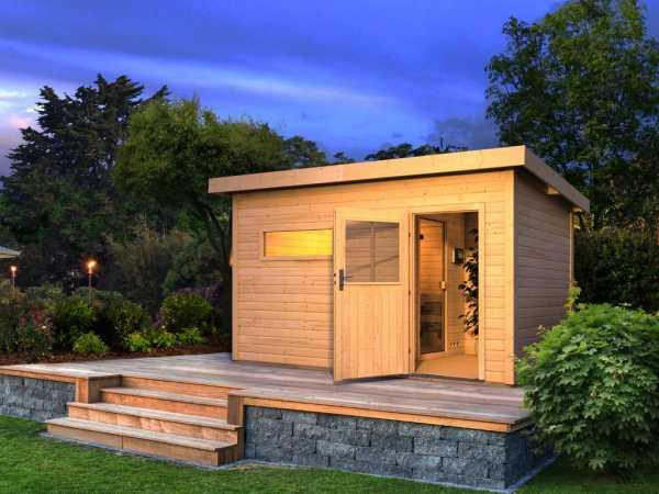 Saunahaus Suva 3 mit Holztür & Vorraum, inkl. 9 kW Bio-Kombiofen mit externer Steuerung