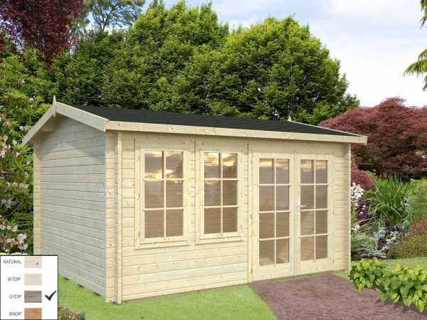 "Gartenhaus Blockbohlenhaus ""Iris"" 11,1 m² 44 mm grau tauchimprägniert"