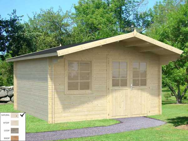 Gartenhaus Blockbohlenhaus Britta 14,6 m² 40 mm naturbelassen