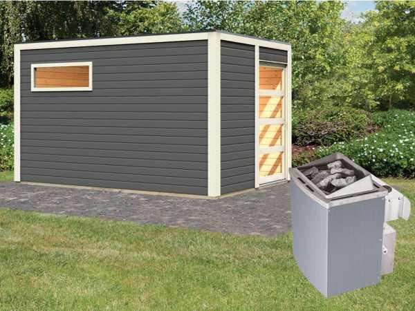 Saunahaus Caleb terragrau + 9 kW Saunaofen integr. Strg.
