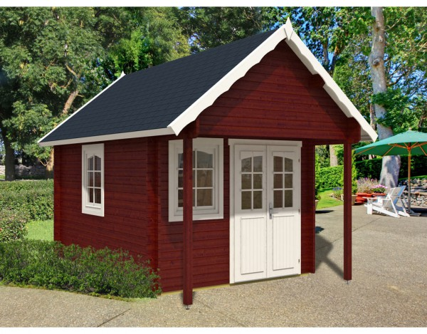 gartenhaus blockbohlenhaus bunkie 40 mm naturbelassen satteldach gartenhaus garten. Black Bedroom Furniture Sets. Home Design Ideas