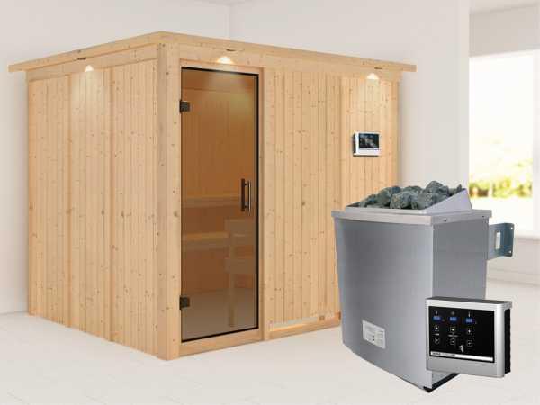 """Systemsauna """"Gobin"""" mit Dachkranz, graphit Ganzglastür, inkl. 9 kW Saunaofen ext. Steuerung"""