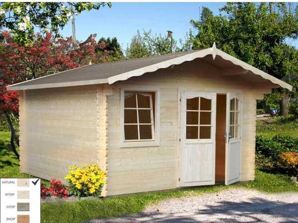 Gartenhaus Blockbohlenhaus Emma 10,4 m² 34 mm naturbelassen