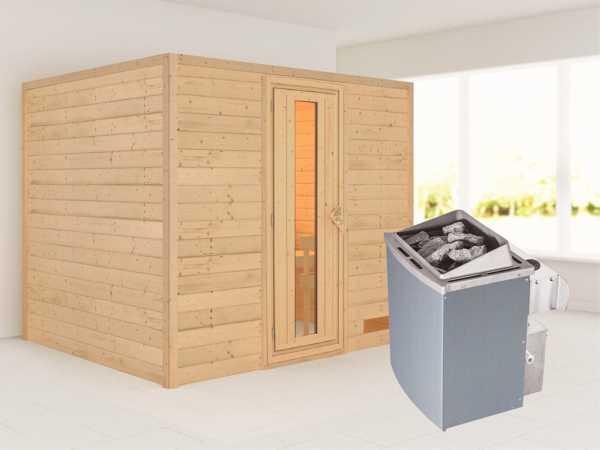 Sauna Massivholzsauna Karla Energiespartür + 9 kW Saunaofen mit Steuerung