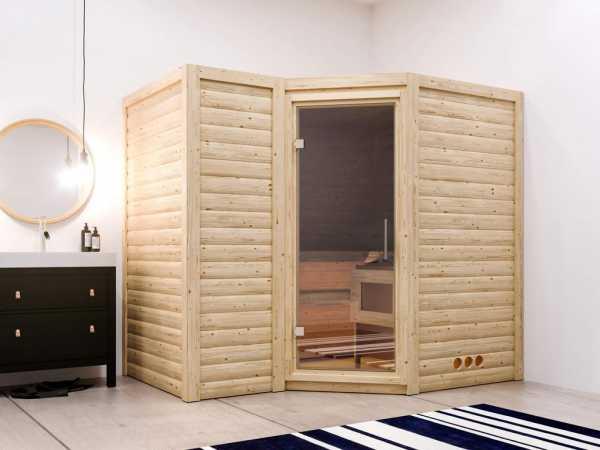 """Sauna Massivholzsauna Sparset 1 """"Betty"""" inkl. 9 kW Saunaofen + Premium Steuerung"""