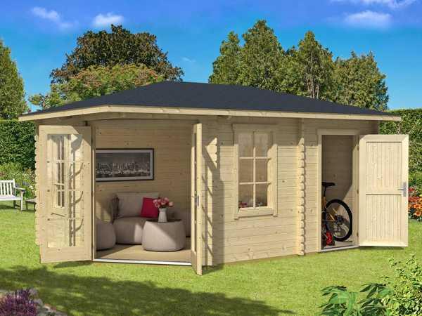 Gartenhaus Blockbohlenhaus Aruba 2A 40 mm naturbelassen