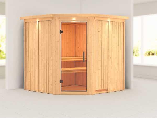 Sauna Systemsauna Jarin mit Dachkranz, Klarglas Ganzglastür