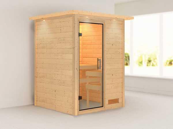 Sauna Massivholzsauna Nadja mit Dachkranz, Klarglas Ganzglastür