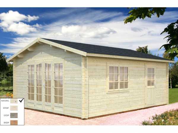 Gartenhaus Blockbohlenhaus Irene 19,0 m² 44 mm naturbelassen