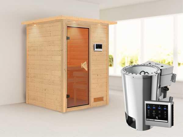 Sauna Massivholzsauna Nadja mit Dachkranz, inkl. Plug & Play Bio-Ofen externe Steuerung