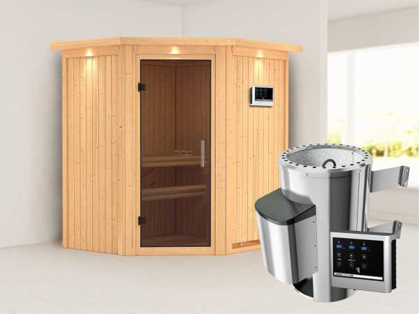 Sauna Systemsauna Tonja mit Dachkranz, graphit Ganzglastür + Plug & Play Saunaofen mit ext. Strg