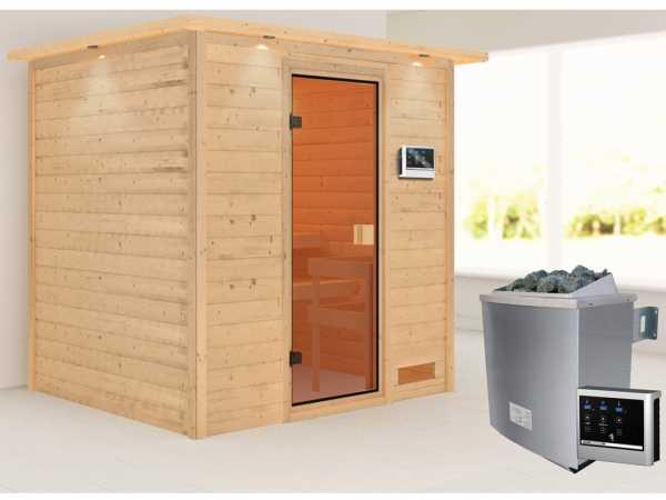 """Sauna """"Adelina"""" mit bronzierter Glastür und Dachkranz + 9 kW Saunaofen ext. Strg."""