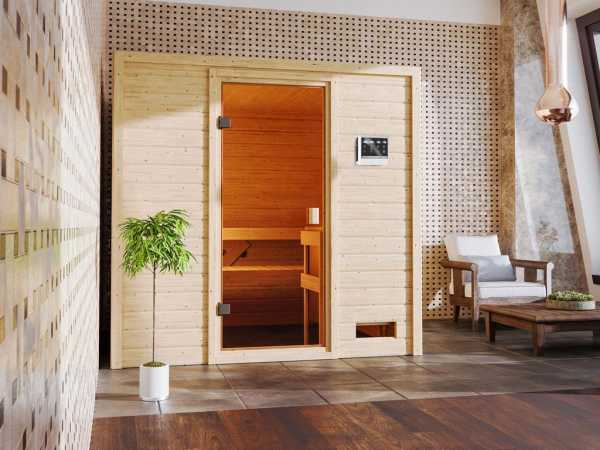 Sauna Adelina mit bronzierter Glastür + 9 kW Bio-Kombiofen ext. Strg.
