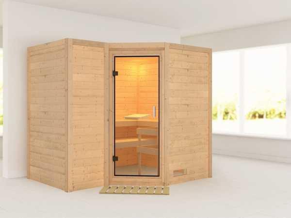 Sauna Massivholzsauna Sahib 2 Klarglas Ganzglastür