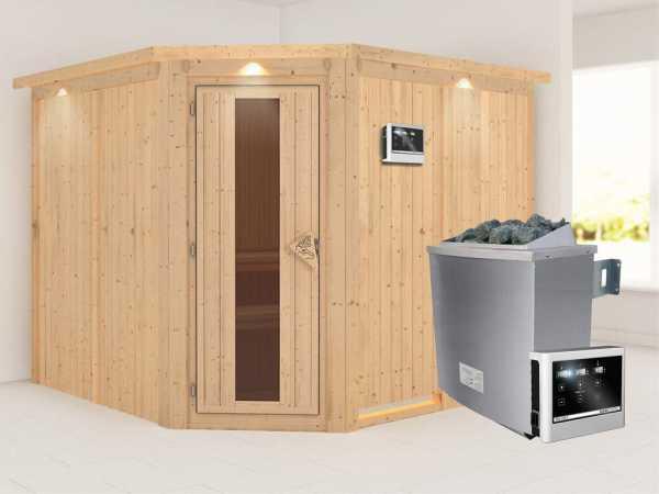 """Sauna Systemsauna """"Farin"""" mit Dachkranz, Energiespartür + 9 kW Saunaofen mit ext.Strg"""