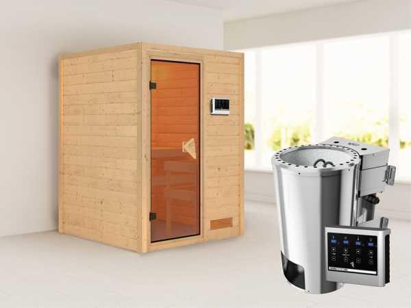 Sauna Massivholzsauna Nadja inkl. Plug & Play Bio-Ofen externe Steuerung