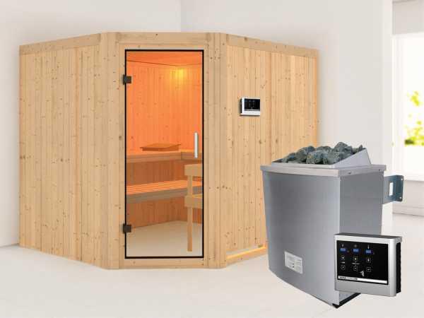 Sauna Systemsauna Malin Klarglas Ganzglastür + 9 kW Saunaofen mit externe Steuerung