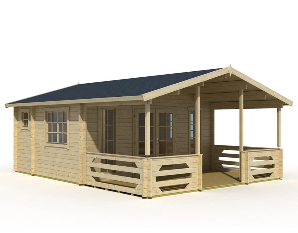 gartenhaus blockbohlenhaus jersey 44 mm naturbelassen la0058. Black Bedroom Furniture Sets. Home Design Ideas
