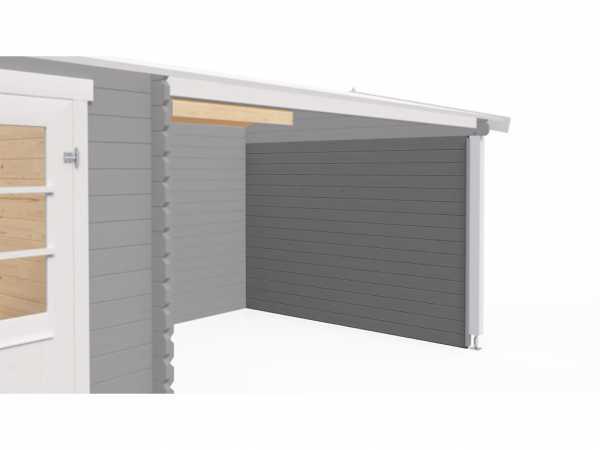 Seitenwand 28 mm für Gartenhäuser Blockbohlenhäuser lichtgrau