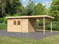 Gartenhaus SET Kerpen 5 CLASSIC 28 mm naturbelassen, inkl. 2,6 m Anbaudach