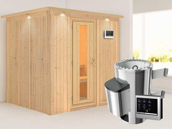 Sauna Systemsauna Daria mit Dachkranz, Energiespartür + Plug & Play Saunaofen mit ext.Strg